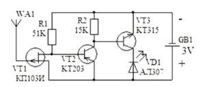Датчик скрытой проводки схема